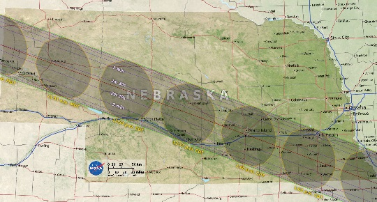 Path of totality within Nebraska. NASA image.